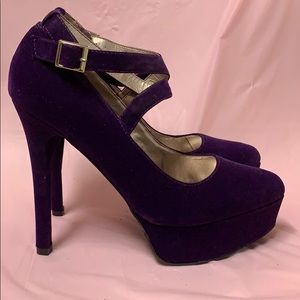 Qupid Purple velvet strappy stilettos